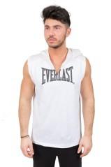 T-Shirt Uomo Smanicata Con Cappuccio bianco grigio