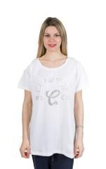 T-Shirt Donna Stretch Strass bianco