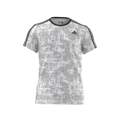 T-Shirt Uomo Essential 3 Stripes bianco fantasia