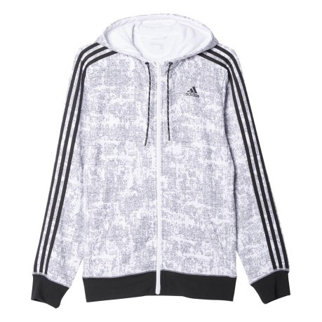 Felpa Uomo Essential 3 Stripes Allover  bianco fantasia