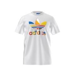 T-shirt Uomo Adidas Fresh Trefoil bianco fantasia