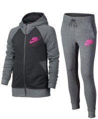 Tuta bambina Sportswear Track's grigio-rosa
