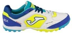 Scarpe Calcio Uomo Top Flex Turf bianco azzurro lato