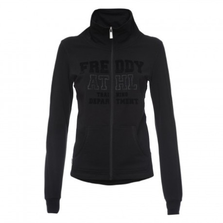 Felpa Donna Full Zip Stampa Strass nero