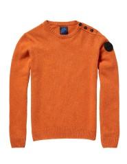 Maglione Uomo Girocollo Con Bottoni arancio