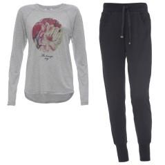 Completo Donna T-shirt e Pantaloni nero grigio