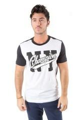 T-Shirt Uomo Varsity NY bianco nero