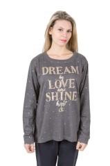 T-Shirt Donna Easy Fit Con Scritta grigio