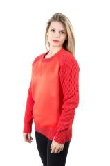 Pullover Donna Effetto Neoprene rosso
