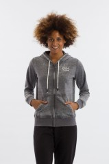 Felpa Donna Burnout Full Zip grigio