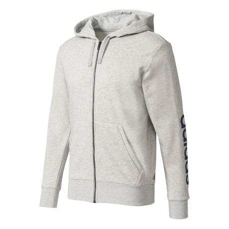 96a07adc9d7b0 Felpa Con Cappuccio Essentials Linear colore Grigio Nero - Adidas ...