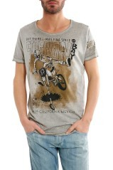 Men's T-Shirt Light Print Bike grey
