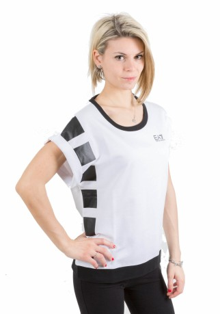 T-Shirt Donna Train Master bianco nero