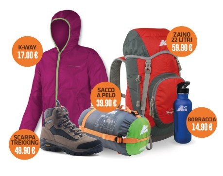 half off fc06d 20e44 Kit trekking bambina (scarpe, k-way, zaino, sacco, borraccia)
