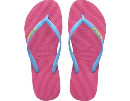 99c82eb20 Flip Flops Women s Slim Logo colore Pink Light blue - Havaianas ...
