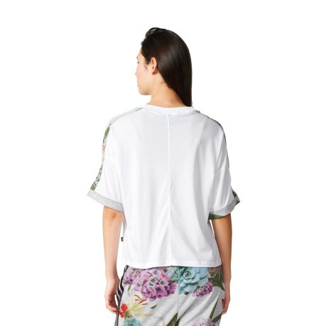 T-Shirt Donna Train Cuff bianco fantasia
