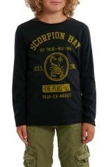 T-Shirt Junior Jersey Stampa Frontale nero verde