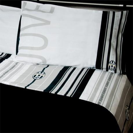 Completo piazza e mezza lenzuola juventus colore bianco for Completo camera da letto