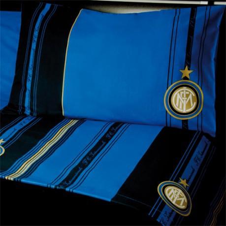Lenzuola Matrimoniali Inter.Full Square And Half Sheets Inter Colore Blue Black Uniontex