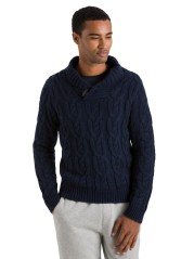 Sweater Man Shawl Collar Fisherman blue model