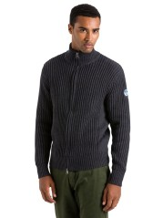 Pullover Mann Fishermann Cotton/Wool Full Zip-blau modell