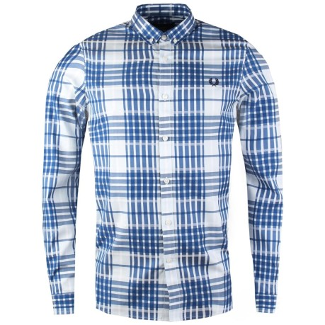 Shirt Cotton Twill Check Shirt colore White Light blue - Fred Perry -  SportIT.com 4c96255a0a4