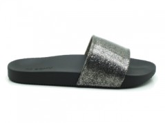 Slippers Women's Snap-Glitter-black silver side