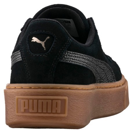 Scarpe Donna Suede Platform Bubble colore Nero Beige Puma