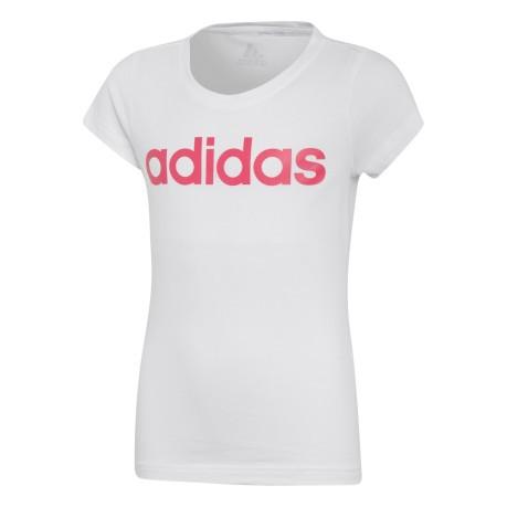 T-shirt Ragazza Essentials Linear colore Bianco Rosa - Adidas ... efcb5203e4a8